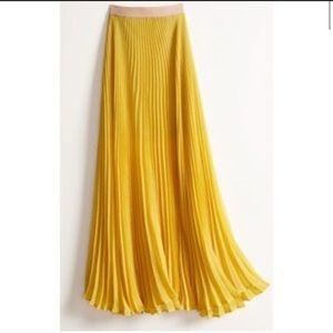 BCBGMaxAzria Pleated Yellow Maxi Skirt